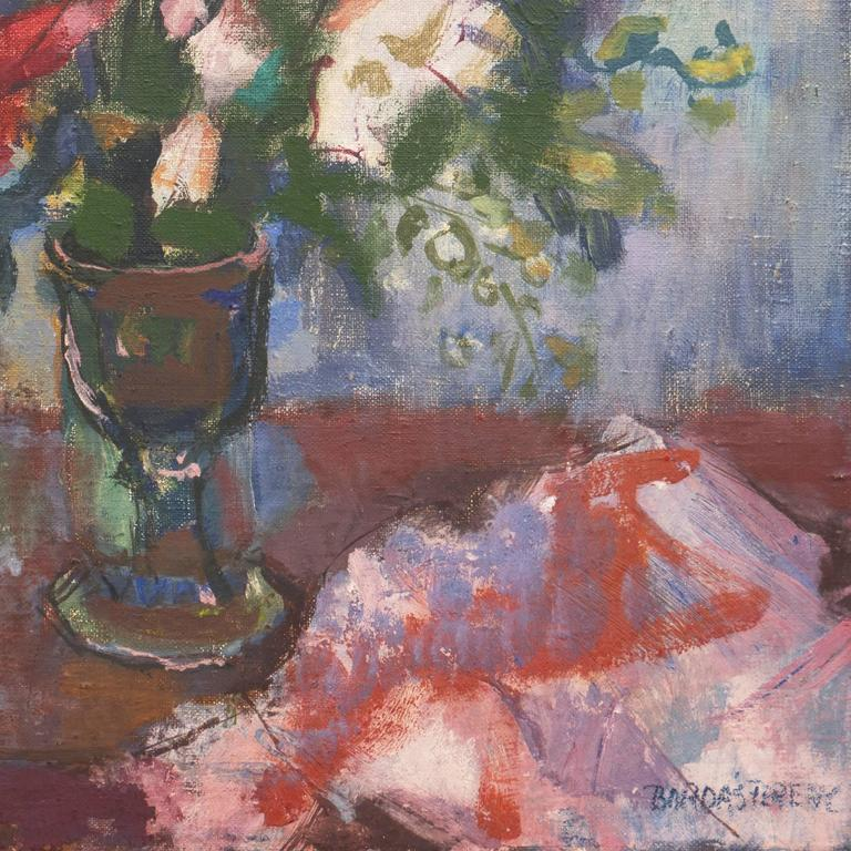 Oil still-life of a bouquet of ocher, rose, cobalt, lavender, and ivory wildflowers, informally arranged in a goblet against a background of rust and periwinkle.   Signed lower right,