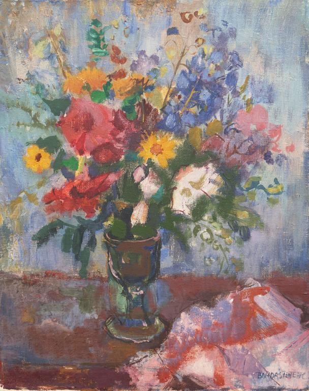 Bordas Ferenc Still-Life Painting - Still Life of Flowers   (Expressionism, Hungarian, Mid-Century)