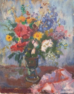 Hungarian Post-Impressionist oil, 'Still Life of Flowers', Budapest