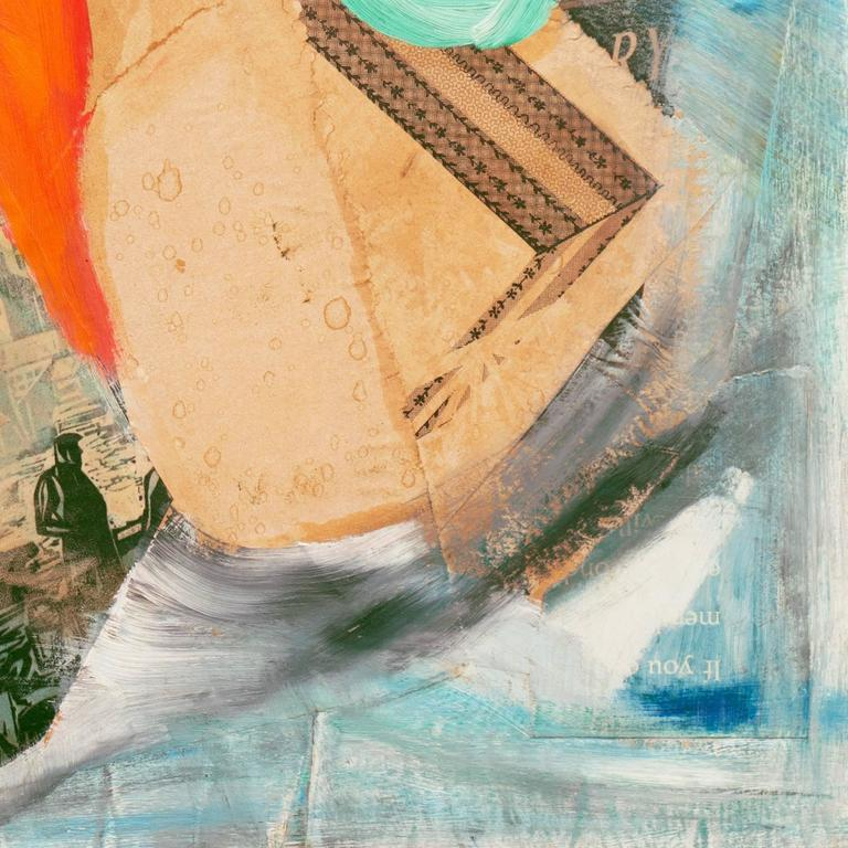 Oil and paper assemblage abstracted seascape comprised of layers of cut and torn paper with printed patterns, images, and text, overlapped by dynamic fields of sea-foam green, coral, and charcoal brush-strokes.  Signed upper right,