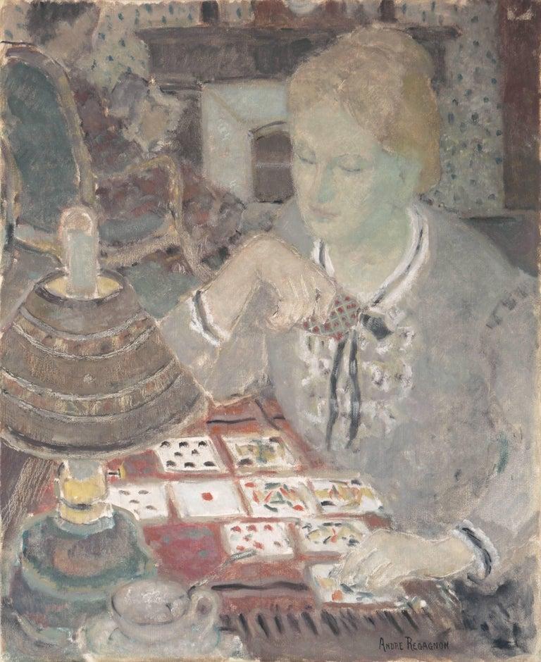 Andre Firmin Regagnon Figurative Painting - 'Woman Playing Solitaire', Salon des Artistes Français, Tonalist Oil, Benezit