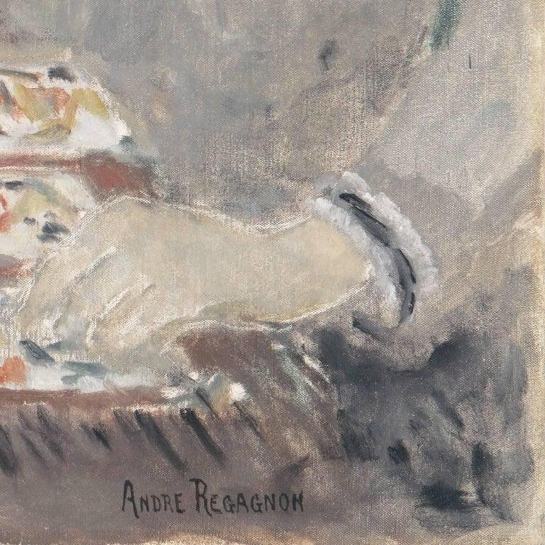 'Woman Playing Solitaire', Salon des Artistes Français, Tonalist Oil, Benezit - Painting by Andre Firmin Regagnon