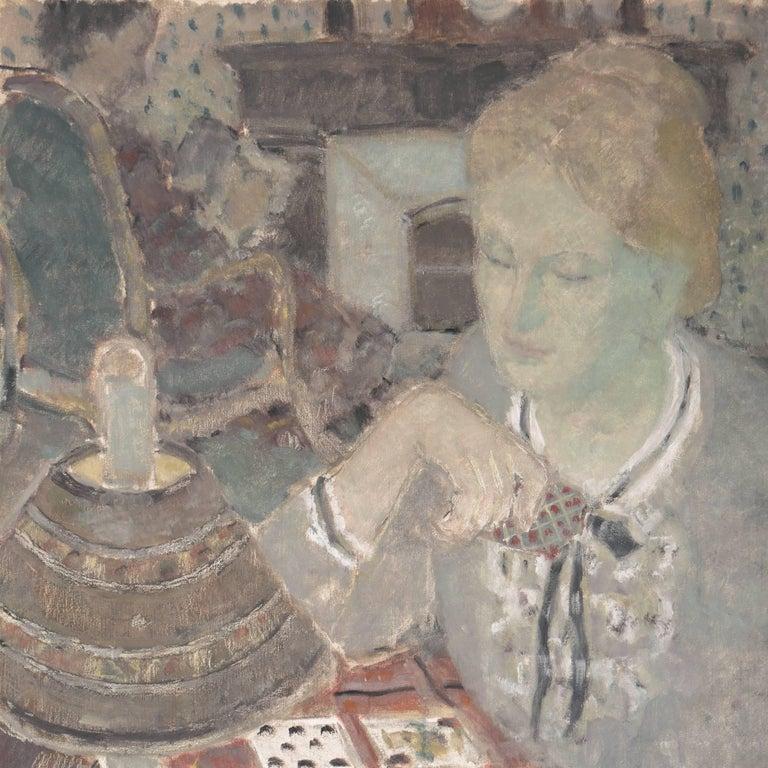 'Woman Playing Solitaire', Salon des Artistes Français, Tonalist Oil, Benezit - Post-Impressionist Painting by Andre Firmin Regagnon
