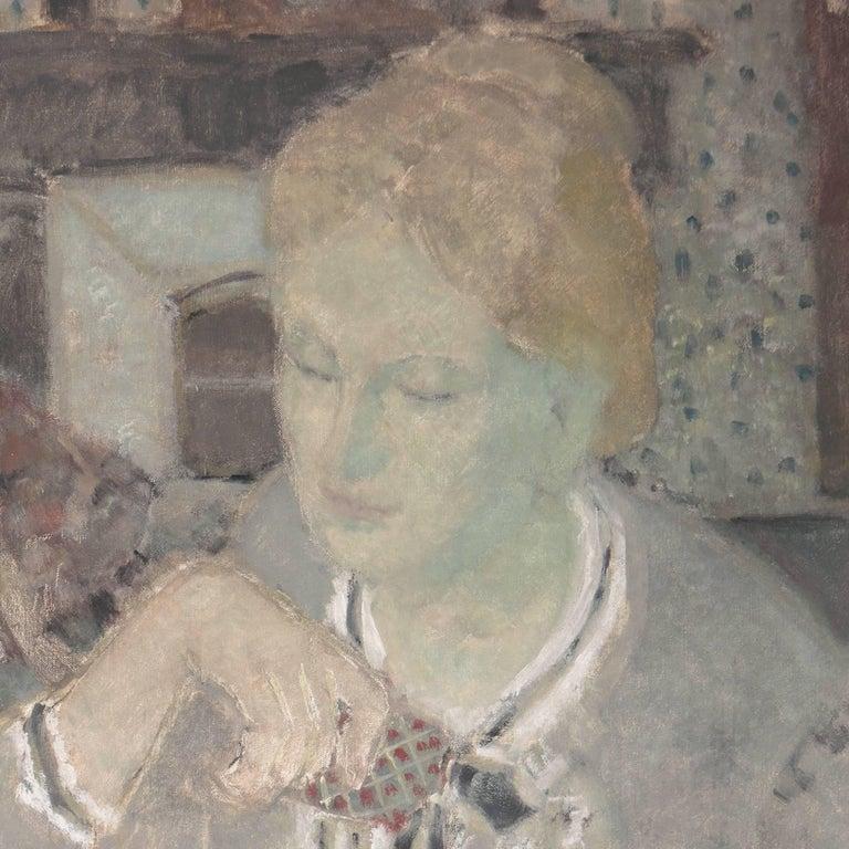 'Woman Playing Solitaire', Salon des Artistes Français, Tonalist Oil, Benezit For Sale 1