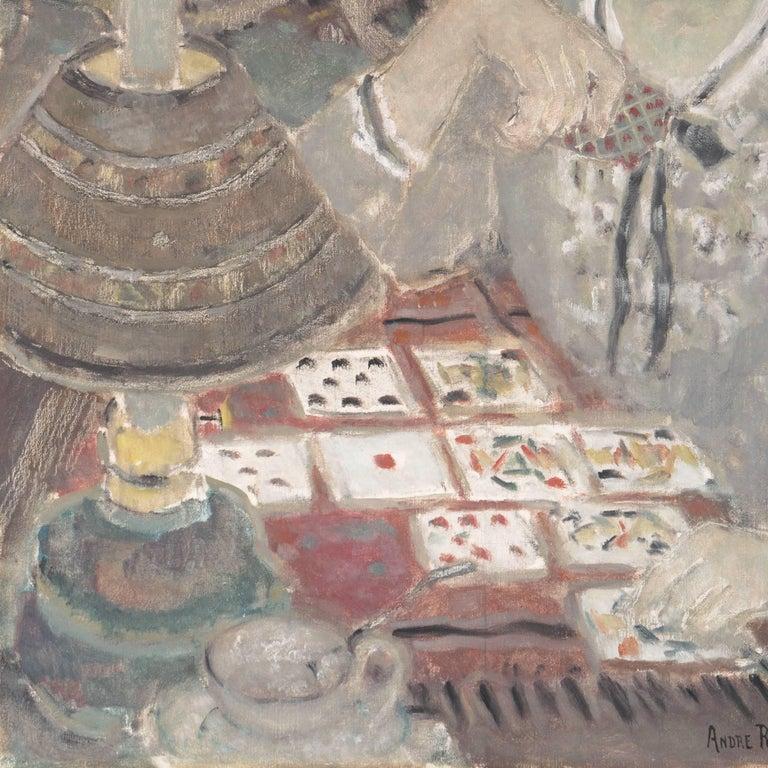 'Woman Playing Solitaire', Salon des Artistes Français, Tonalist Oil, Benezit For Sale 2