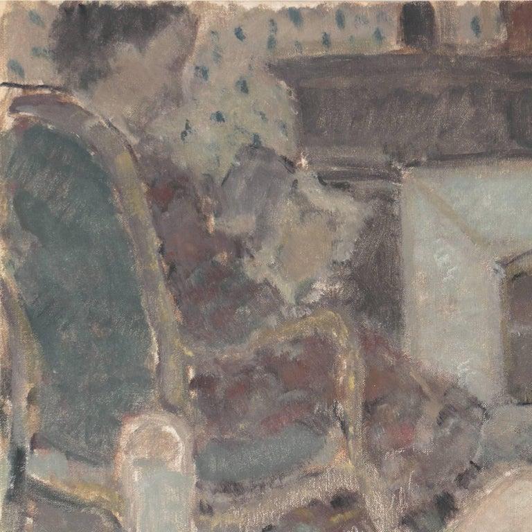 'Woman Playing Solitaire', Salon des Artistes Français, Tonalist Oil, Benezit - Gray Figurative Painting by Andre Firmin Regagnon
