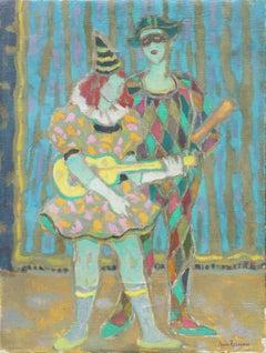 'Arlequino & Columbina', Salon des Artistes Français, Post-Impressionist Figural