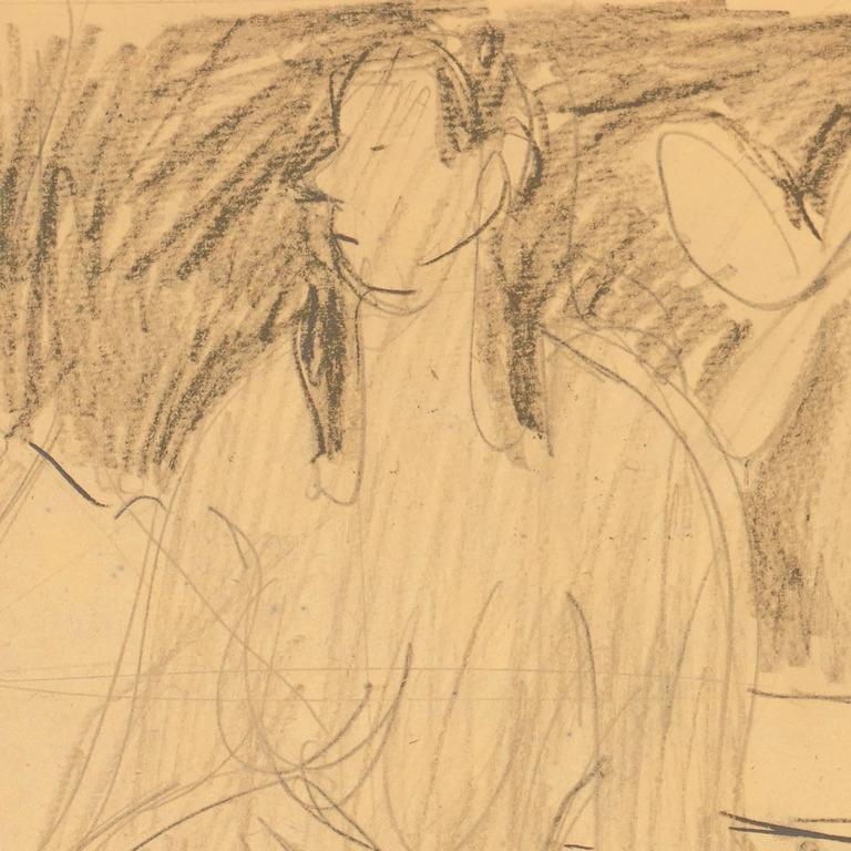 A graphite study of a young woman, shown nude and seated on a couch, one knee drawn up, beside a table bearing a mandolin.  Victor Di Gesu Estate Stamp verso; drawn circa 1955.  Winner of the Prix Othon Friesz, Victor di Gesu first attended the