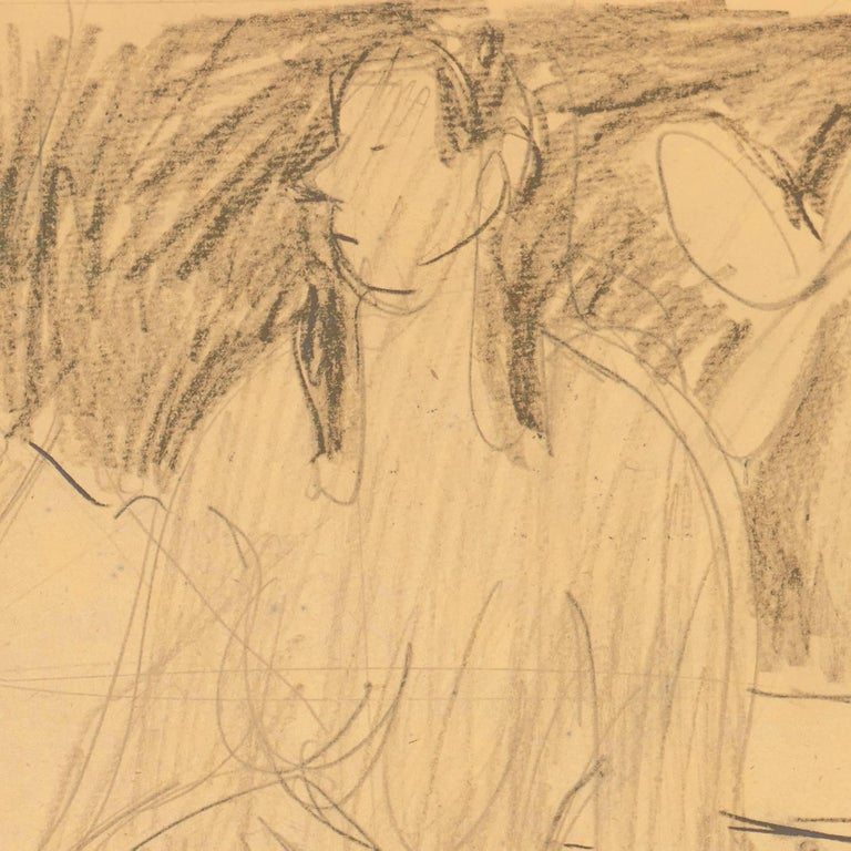 California Post-Impressionist Figural Drawing 'Seated Nude with Mandolin'; LACMA For Sale 2