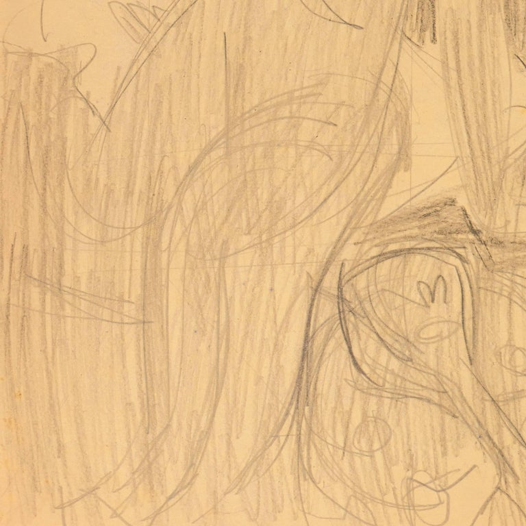 California Post-Impressionist Figural Drawing 'Seated Nude with Mandolin'; LACMA For Sale 4