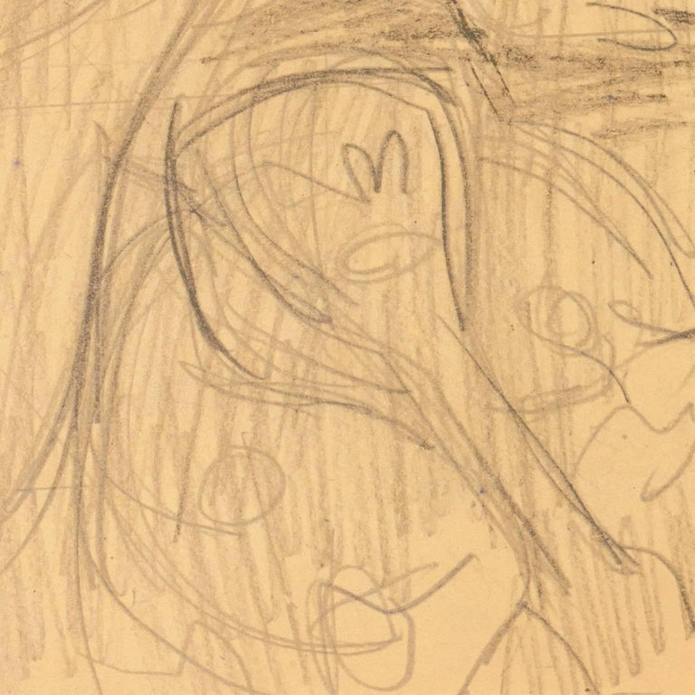 California Post-Impressionist Figural Drawing 'Seated Nude with Mandolin'; LACMA For Sale 5