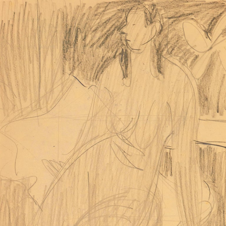 California Post-Impressionist Figural Drawing 'Seated Nude with Mandolin'; LACMA For Sale 1