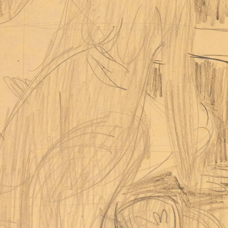 California Post-Impressionist Figural Drawing 'Seated Nude with Mandolin'; LACMA For Sale 3