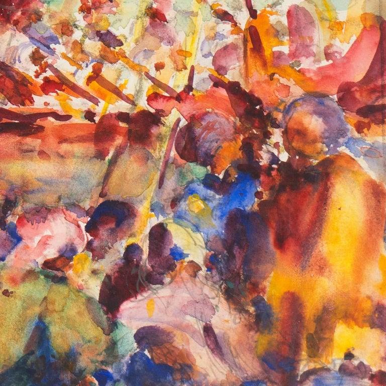 'Burmese Water Pageant', California Post-Impressionist, PAFA, AIC, Carmel - Brown Landscape Art by William Clothier Watts