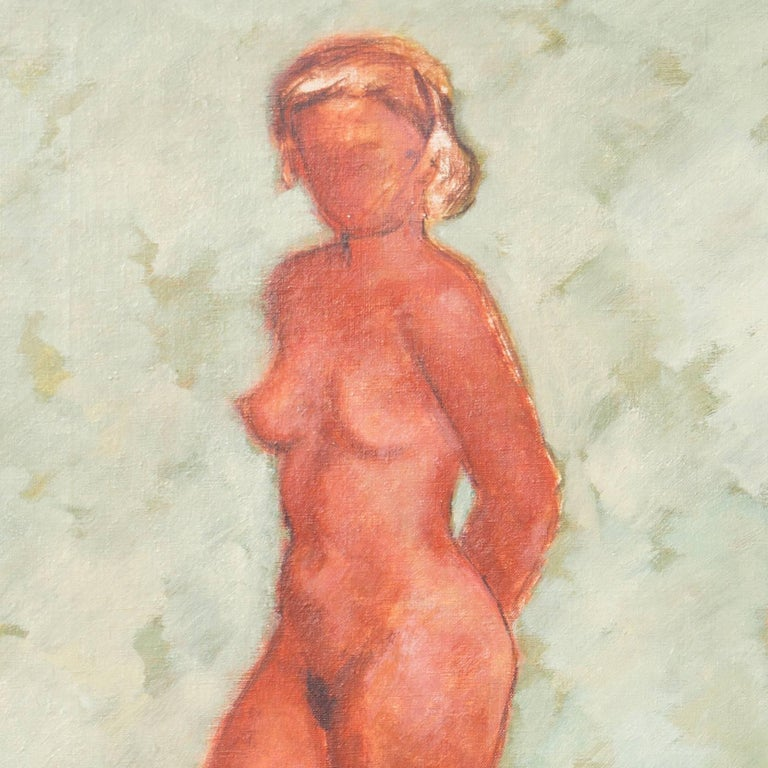 Figural in Ochre and Jade   (Modernism, Post-Impressionism, Danish, red, green) For Sale 1