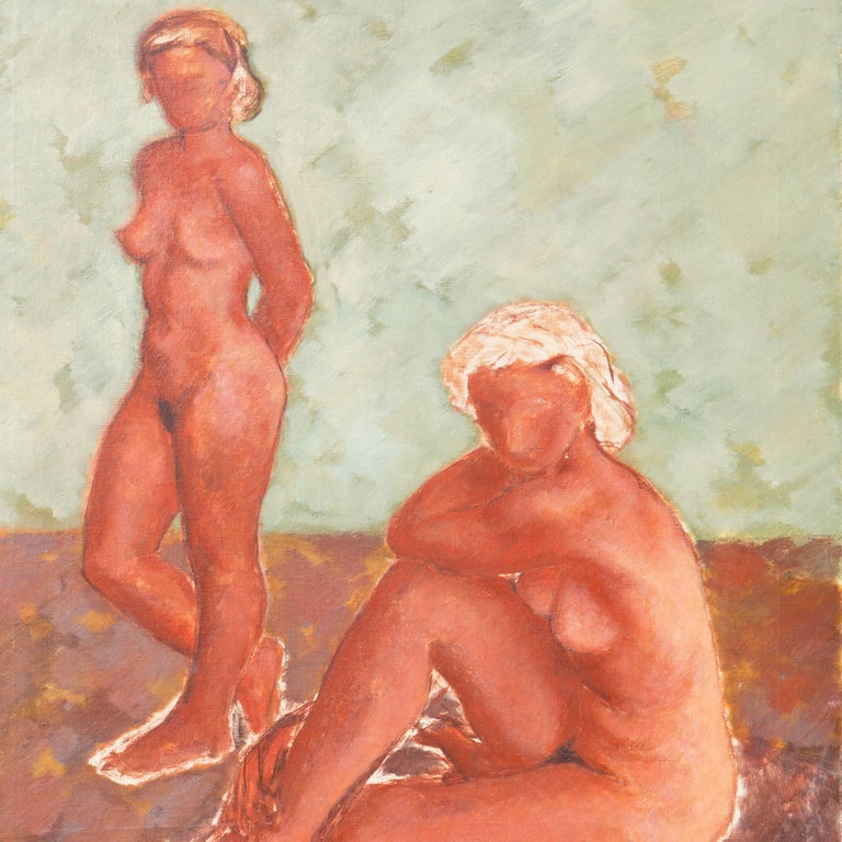 Figural in Ochre and Jade   (Modernism, Post-Impressionism, Danish, red, green) - Post-Impressionist Painting by Helge Jensen