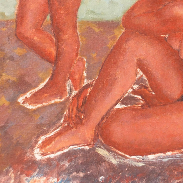 Figural in Ochre and Jade   (Modernism, Post-Impressionism, Danish, red, green) - Orange Nude Painting by Helge Jensen