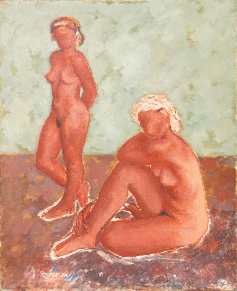Helge Jensen Nude Painting - Figural in Ochre and Jade   (Modernism, Post-Impressionism, Danish, red, green)