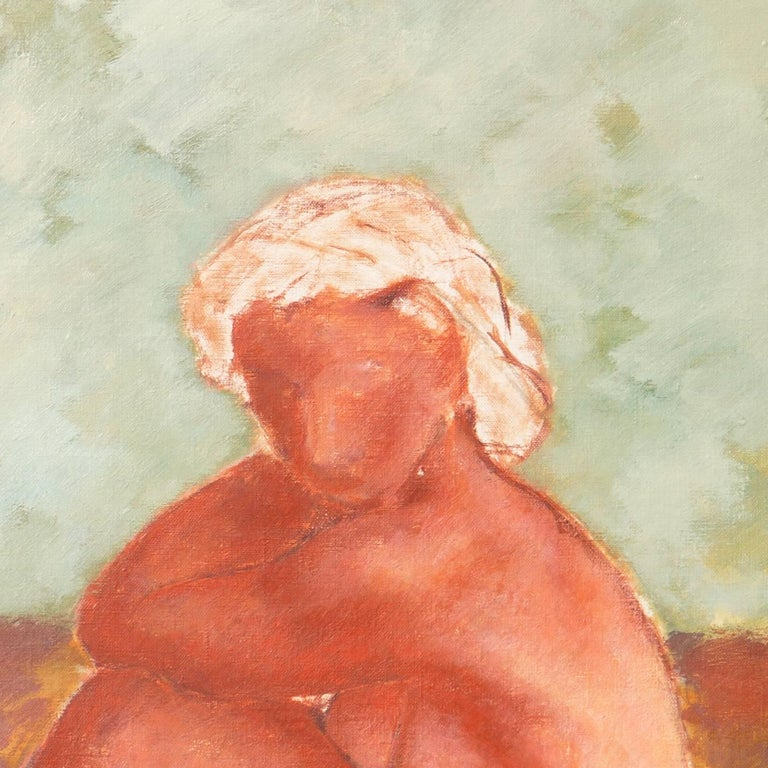 Figural in Ochre and Jade   (Modernism, Post-Impressionism, Danish, red, green) For Sale 2