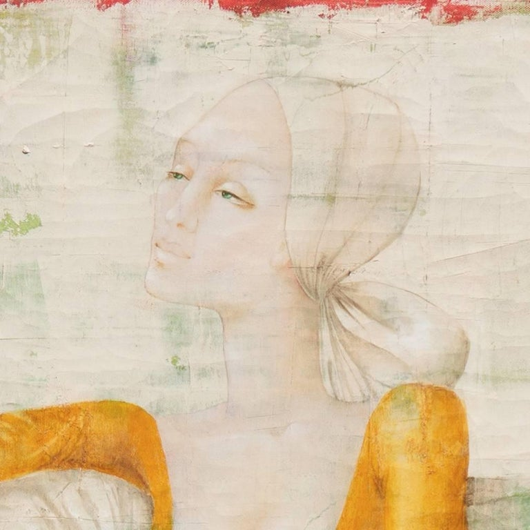 'Woman Seated', French Modernist Fashion Portrait in Ivory and Gold, Paris - Painting by Philippe Auge