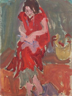 Woman in Interior   (Post-Impressionism, Mid-Century, California, Figural)