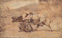 Figurative with Guernsey Cow   (French, Realism, Barbizon, Genre, Farm, Brown)