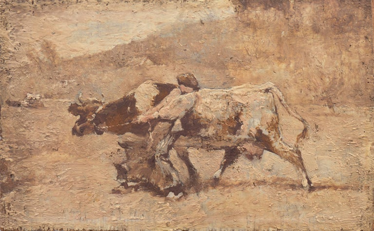 Julien Dupre Animal Painting - Figurative with Guernsey Cow   (French, Realism, Barbizon, Genre, Farm, Brown)