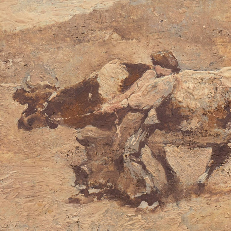 Figurative with Guernsey Cow   (French, Realism, Barbizon, Genre, Farm, Brown) - Painting by Julien Dupre
