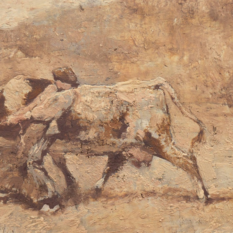 Figurative with Guernsey Cow   (French, Realism, Barbizon, Genre, Farm, Brown) - Barbizon School Painting by Julien Dupre