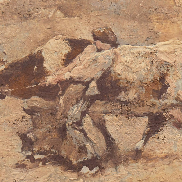 Cabinet size oil landscape with a young Breton cowherd attempting to guide a reluctant Guernsey cow, while it turns its head in a different direction.   Attributed to Julien Dupre (French, 1851 - 1910) and painted circa 1880; additionally, label