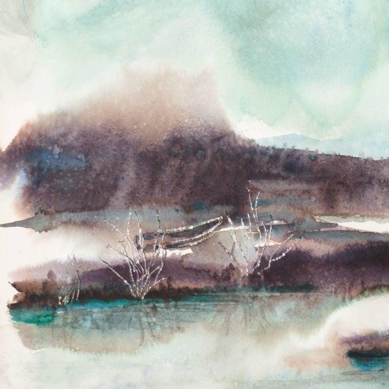 'Rain', Los Gatos Woman Artist, China, Germany, Santa Cruz, California - Gray Landscape Art by Gisela Embree