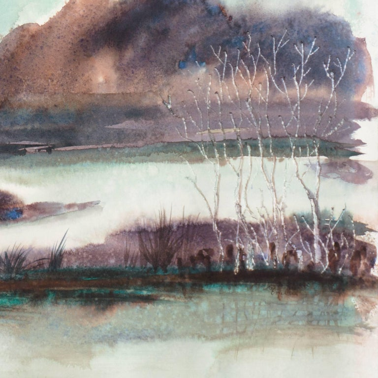 Inscribed verso, 'Gisela Embree' and Titled 'Rain'.  Born in Germany in 1927, Gisela Embree immigrated to the United States in 1948. She began to study Chinese brush painting in 1975, and it became her artistic focus for the rest of her life. Embree
