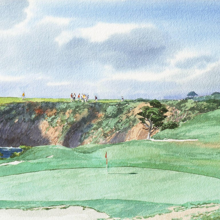 Playing the 17th Hole, Pebble Beach - American Realist Art by James March Phillips