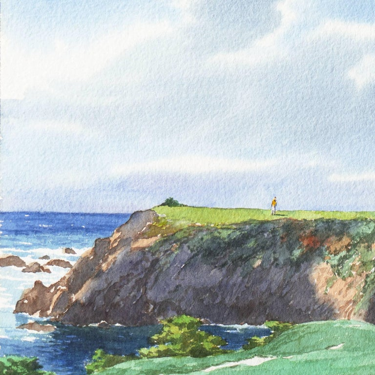 Playing the 17th Hole, Pebble Beach - Gray Landscape Art by James March Phillips