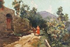 Italian Impressionist landscape, 'Village Road'