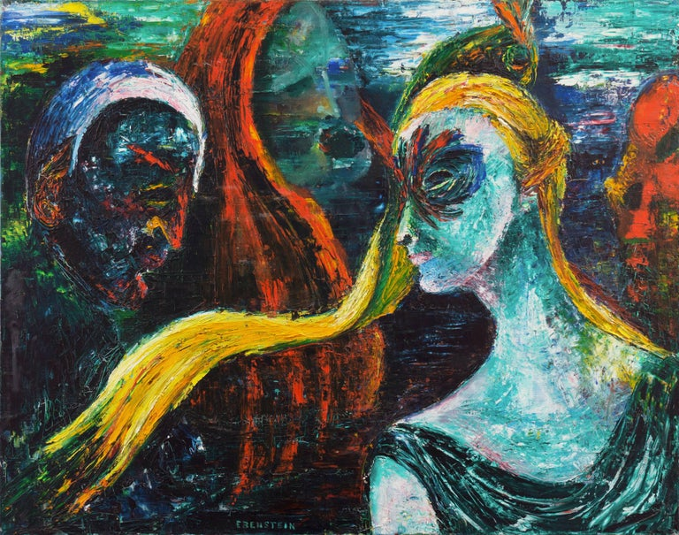 Signed lower center, 'Ebenstein' titled verso, 'Seduction' and painted circa 1966. Accompanied by 1966 exhibition label from Barzansky Galleries, New York.  A substantial, Expressionist figural oil showing a group of figures at a masked ball engaged