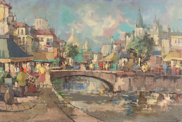 Paul Romier Landscape Painting - 'Montmartre and Sacre Coeur', Paris Street Scene