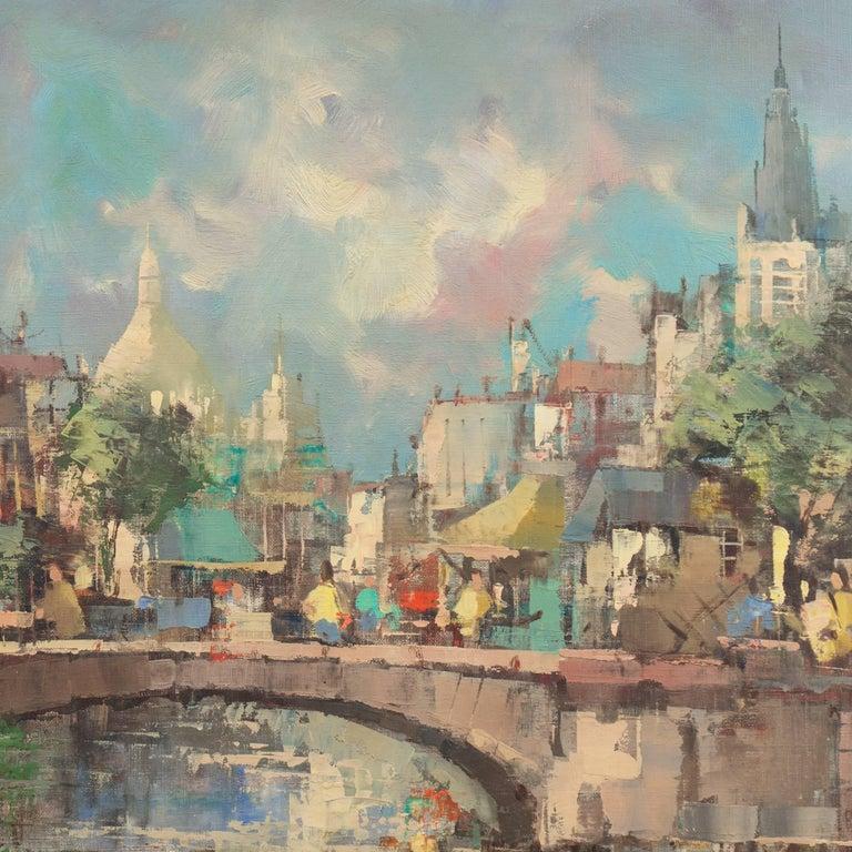 'Montmartre and Sacre Coeur', Paris Street Scene - Post-Impressionist Painting by Paul Romier