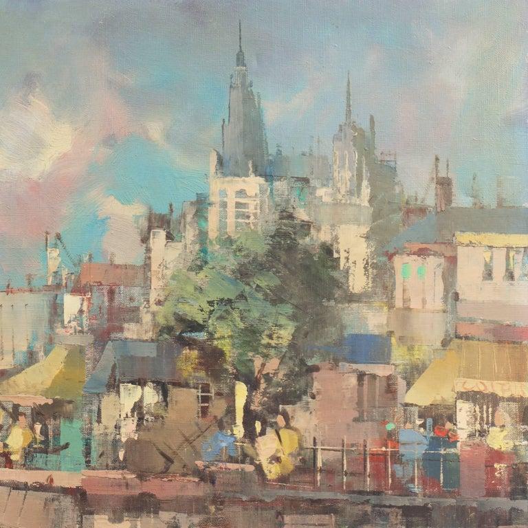 'Montmartre and Sacre Coeur', Paris Street Scene - Brown Landscape Painting by Paul Romier