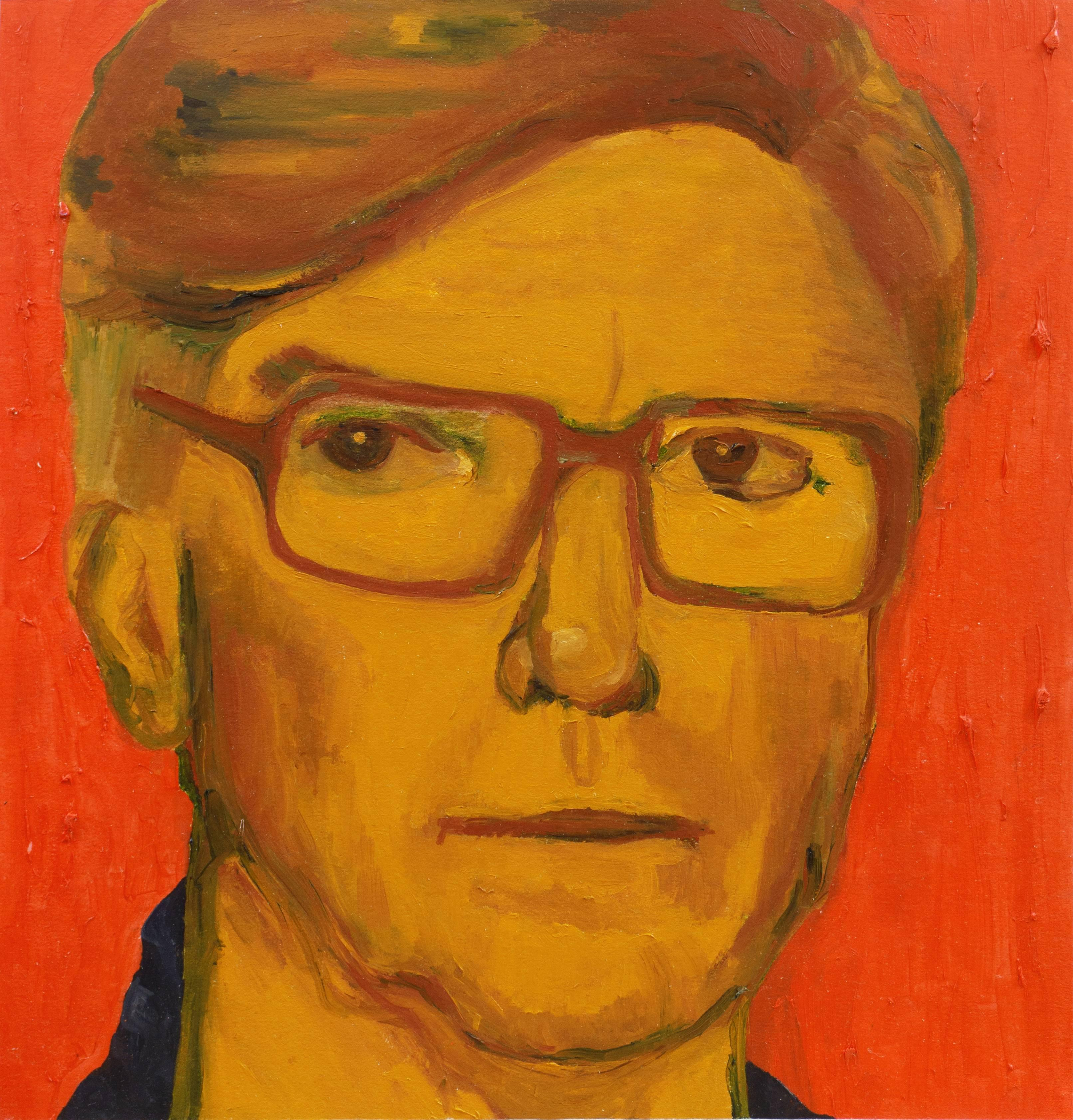 'Man in Glasses', Post Impressionist oil study in Ochre and Coral