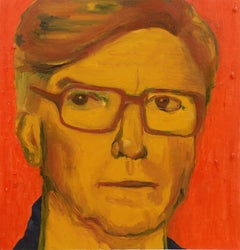 Portrait of a Man   (Woman Artist, Modernism, Figural, Charleston, Red, Yellow)