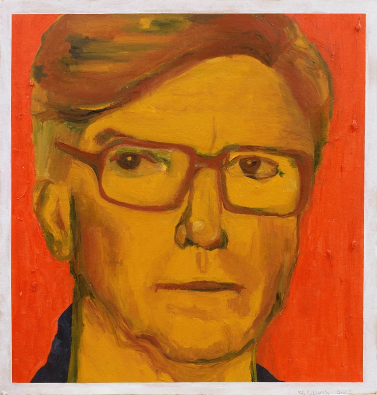 Portrait of a Man   (Woman Artist, Modernism, Figural, Charleston, Red, Yellow) - Painting by K.C. Collins