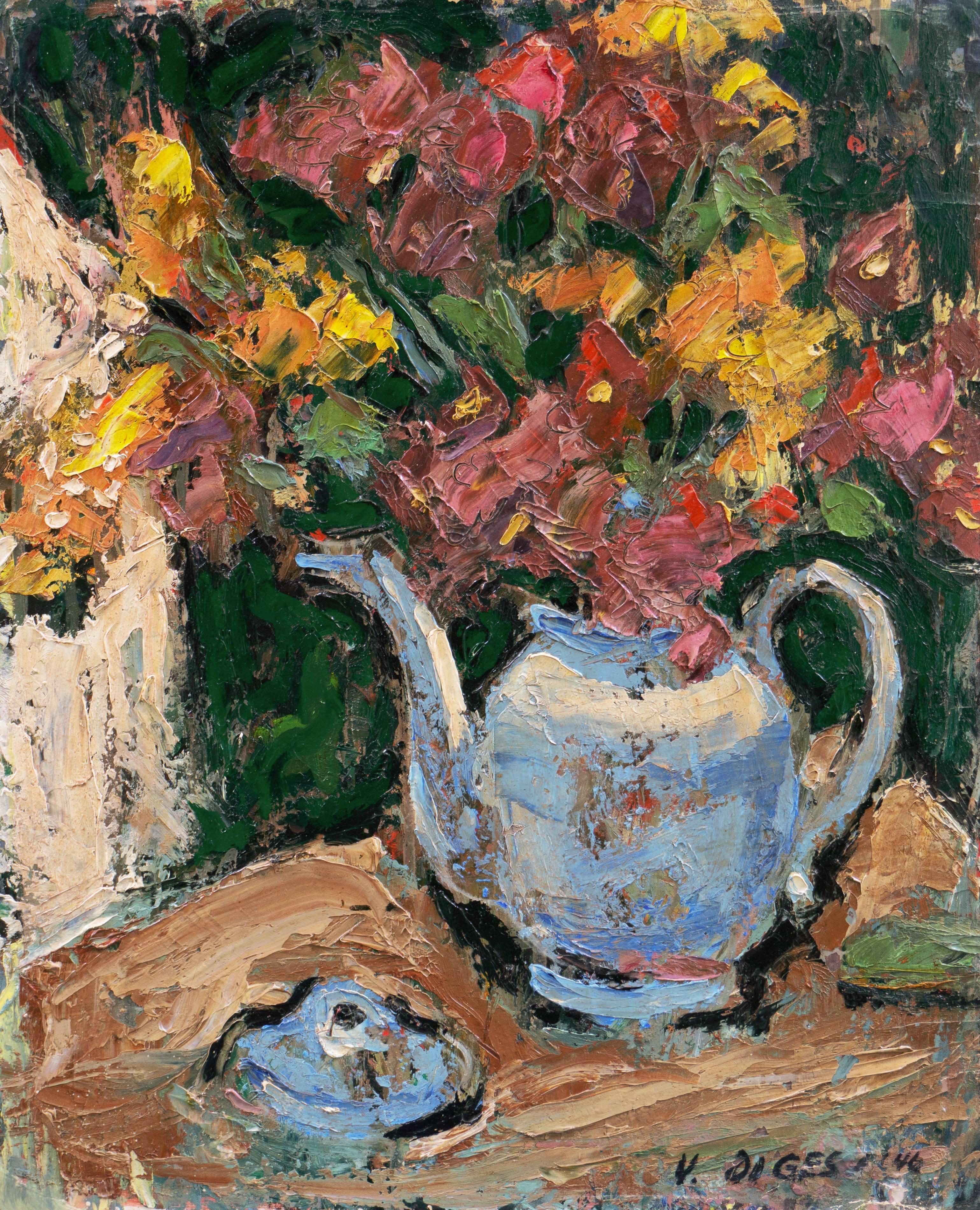 'Flowers in a Blue Teapot', LACMA, Paris, California Post-Impressionist