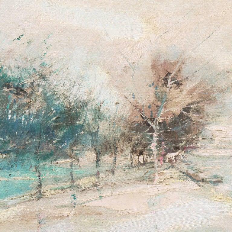 'The Seine in Winter', School of Paris, Tonalist Snowy Landscape - American Impressionist Painting by Charles Gordon Harris