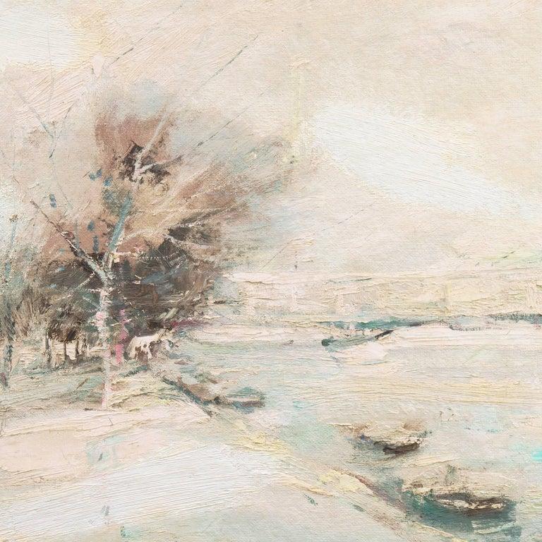 'The Seine in Winter', School of Paris, Tonalist Snowy Landscape - Beige Landscape Painting by Charles Gordon Harris