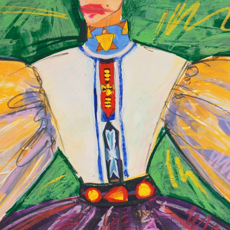 Fashion Able II    (Modernism, Design, Costume, green, purple, gold) - Painting by Isaac Mizrahi