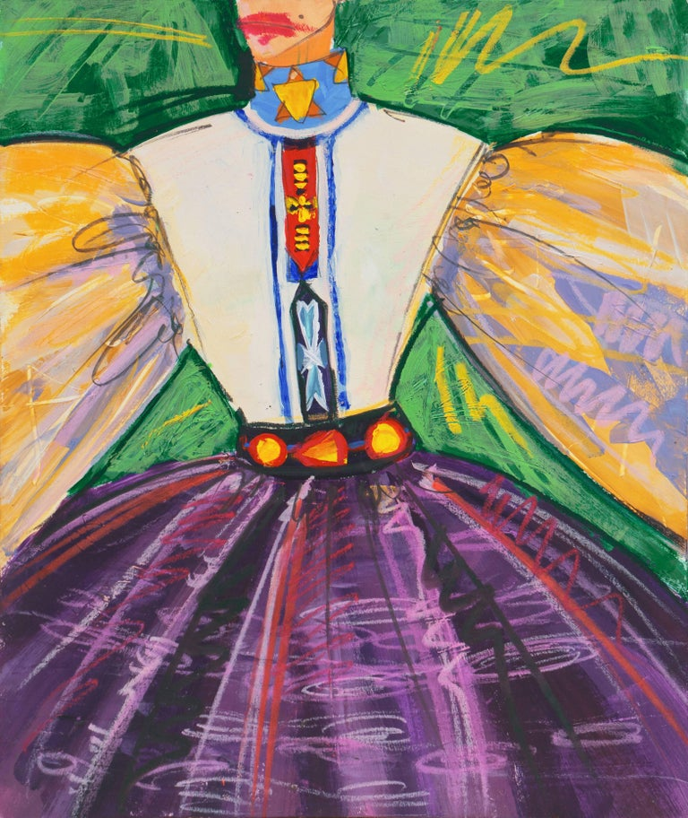 Isaac Mizrahi Figurative Painting - Fashion Able II    (Modernism, Design, Costume, green, purple, gold)