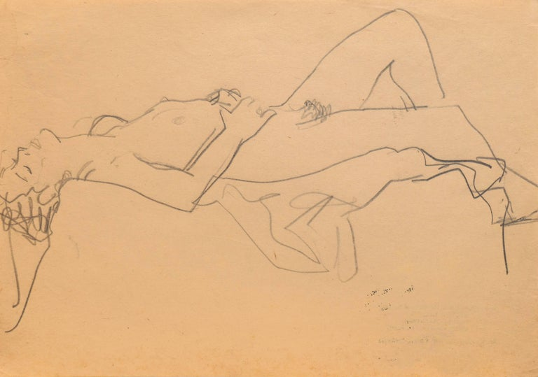 Victor Di Gesu Estate Stamp verso; drawn circa 1955.  Figural study of a young woman shown reclining on a draped pedestal.  Winner of the Prix Othon Friesz, Victor di Gesu first attended the Chouinard Art School before moving to Paris where he