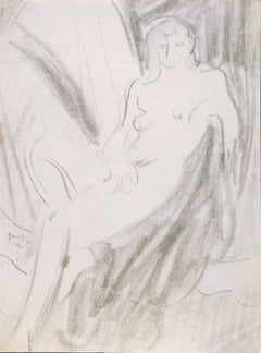Seated Nude   (Post-Impressionism, California, Mid-Century, Figural, Graphite)