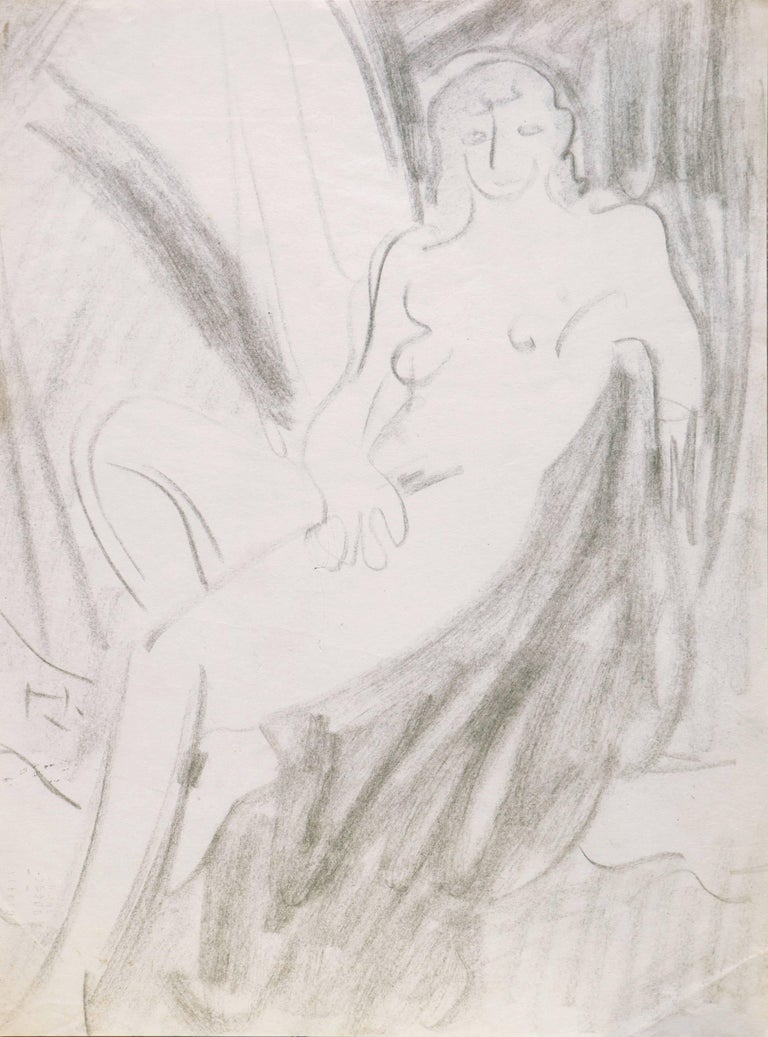 A period graphite figurative study showing a reclining woman contrasted against a drapery background.   Victor Di Gesu (American, 1914-1988) estate stamp verso; created circa 1955.  Winner of the Prix Othon Friesz, Victor di Gesu first attended the